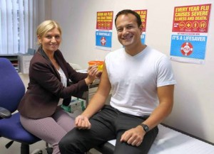 leo getting flu vaccine